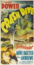 "Movie Posters:War, Crash Dive (20th Century Fox, 1943). Three Sheet (41"" X 81"").Tyrone Power stars a sub commander during WWII who falls for a..."
