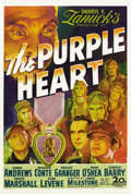 "Movie Posters:Action, The Purple Heart (20th Century Fox, 1944). One Sheet (27"" X 41"").Eight American airmen, led by Dana Andrews, have been capt..."