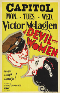 """A Devil with Women (Fox, 1930). Window Card (14"""" X 22""""). Hollywood lore states that this film was supposed to..."""