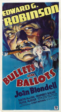 "Movie Posters:Crime, Bullets or Ballots (Warner Brothers, 1936). Three Sheet (41"" X 81""). The Hays Commission came down pretty hard on Hollywood'..."