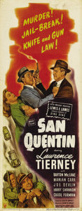 """Movie Posters:Film Noir, San Quentin (RKO, 1946). Insert (14"""" X 36""""). Lawrence Tierney (not Humphrey Bogart) stars in this tale of an ex-con who goes..."""