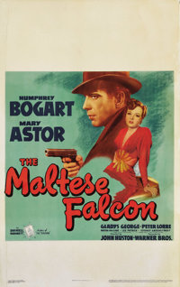 """The Maltese Falcon (Warner Brothers, 1941). Window Card (14"""" X 22""""). Perhaps the best detective film ever made..."""