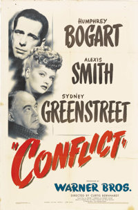 "Conflict (Warner Brothers, 1945). One Sheet (27"" X 41""). Humphrey Bogart, Sydney Greenstreet, and Alexis Smith..."