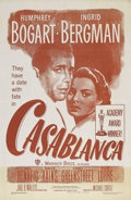 "Movie Posters:Drama, Casablanca (Warner Brothers, R-1949). One Sheet (27"" X 41"").Director Michael Curtiz cast Humphrey Bogart alongside an inter..."