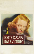 "Movie Posters:Drama, Dark Victory (Warner Brothers, 1939). Window Card (14"" X 22"").Bette Davis gave one of the greatest performances of her care..."