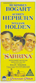 """Movie Posters:Romance, Sabrina (Paramount, 1954). Australian Daybill (13"""" X 30""""). Humphrey Bogart and William Holden play a pair of brothers vying ..."""