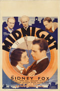 "Movie Posters:Crime, Midnight (Universal, 1934). Window Card (14"" X 22""). Although onlyeighth billed in this film, Humphrey Bogart is the main f..."