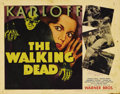 """Movie Posters:Horror, The Walking Dead (Warner Brothers, R-1942). Title Lobby Card (11"""" X 14""""). With the US entry into World War II and the countr..."""