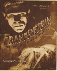"""Frankenstein (Universal, 1931). Herald (16.5"""" X 10.5""""). James Whale was given the assignment to film Mary Shel..."""
