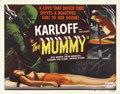 "Movie Posters:Horror, The Mummy (Realart, R-1951). Half Sheet (22"" X 28""). This was BorisKarloff's second Universal horror starring role, followi..."