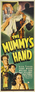 "Movie Posters:Horror, The Mummy's Hand (Universal, 1940). Insert (14"" X 36""). Cowboylegend Tom Tyler made his one foray into horror with this sti..."