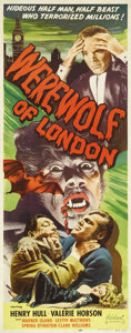 "Movie Posters:Horror, Werewolf of London (Realart, R-1951). Insert (14"" X 36""). HenryHull carved his on-screen niche in the horror genre with thi..."