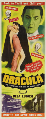 "Dracula (Realart, R-1951). Insert (14"" X 36""). Bela Lugosi, as the immortal Count Dracula, appears on this spe..."