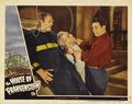 "Movie Posters:Horror, House of Frankenstein (Universal, 1944). Lobby Card (11"" X 14"").The Wolfman (Lon Chaney, Jr.) strangles the mad scientist (..."