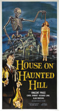 "Movie Posters:Horror, House on Haunted Hill (Allied Artists, 1959). Three Sheet (41"" X81""). William Castle, one of the master showmen of the cine..."
