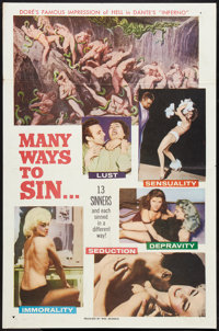"Many Ways to Sin (William Mishkin Motion Pictures Inc., 1960). One Sheet (27"" X 41""). Adult"