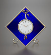 A RUSSIAN ENAMEL AND SILVER GILT CLOCK Carl Faberge, work master Henrik Wigstrom, St. Petersburg, Russia, 1903-190