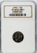 Proof Roosevelt Dimes, 1952 10C PR68 W Cameo NGC. NGC Census: (36/1). PCGS Population(6/1). Numismedia Wsl. Price for problem free NGC/PCGS coin...