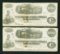 Confederate Notes:1862 Issues, T40 $100 1862 Two Consecutive Examples.. ... (Total: 2 notes)