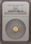 California Fractional Gold: , 1869 25C Liberty Octagonal 25 Cents, BG-712, High R.4, MS64 NGC.NGC Census: (3/4). PCGS Population (18/22). (#10539)...