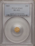 California Fractional Gold: , 1865 25C Liberty Round 25 Cents, BG-822, R.4, MS62 PCGS. PCGSPopulation (19/17). NGC Census: (8/2). (#10683)...