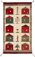 American Indian Art:Weavings, A NAVAJO PICTORIAL RUG. c. 1935...