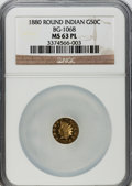 California Fractional Gold, 1880 50C Indian Round 50 Cents, BG-1068, High R.5, MS63 ProoflikeNGC....
