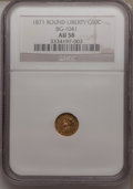 California Fractional Gold: , 1871 50C Liberty Round 50 Cents, BG-1041, High R.6, AU58 NGC. NGCCensus: (1/3). PCGS Population (1/5). (#10870)...