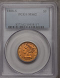 Liberty Half Eagles, 1888-S $5 MS62 PCGS....