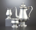 Silver Holloware, American:Coffee Pots, AN AMERICAN THREE-PIECE SILVER COFFEE SERVICE. Maker unidentified,American, circa 1920. Marks: H (stylized within rope ...(Total: 3 Items)