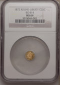 California Fractional Gold: , 1872 25C Liberty Round 25 Cents, BG-814, High R.5, MS64 NGC. NGCCensus: (2/0). PCGS Population (4/3). (#10675)...