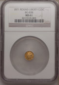 California Fractional Gold: , 1871 25C Liberty Round 25 Cents, BG-838, R.2, MS61 NGC. NGC Census:(13/50). PCGS Population (60/212). (#10699)...