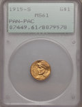 Commemorative Gold: , 1915-S G$1 Panama-Pacific Gold Dollar MS61 PCGS. PCGS Population(66/4968). NGC Census: (85/3112). Mintage: 15,000. Numisme...