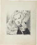 Original Comic Art:Illustrations, Edward D'ancona Veronica Lake Portrait Drawing Original Art (undated)....