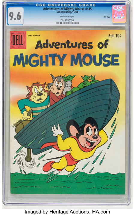 Adventures of Mighty Mouse #145 File Copy (Dell, 1960) CGC NM+ 9.6 Off-white pages....