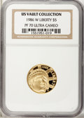 1986-W G$5 Statue of Liberty Gold Five Dollar PR70 Ultra Cameo NGC. US Vault Collection. NGC Census: (1). PCGS Populatio...