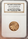 1987-W G$5 Constitution Gold Five Dollar PR70 Ultra Cameo NGC. US Vault Collection. NGC Census: (7). PCGS Population (10...