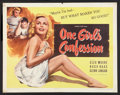 """Movie Posters:Bad Girl, One Girl's Confession (Columbia, 1953). Half Sheet (22"""" X 28"""")Style A. Bad Girl.. ..."""