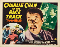 "Charlie Chan at the Race Track (20th Century Fox, 1936). Title Lobby Card and Lobby Cards (3) (11"" X 14"")..."
