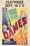 "Movie Posters:Musical, Dames (Warner Brothers, 1934). Window Card (14"" X 22"").. ..."