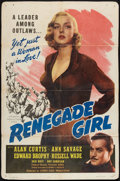 "Movie Posters:Adventure, Renegade Girl (Screen Guild Productions, 1946). One Sheet (26.5"" X40""). Adventure.. ..."