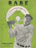 Baseball Collectibles:Others, 1947 Babe Ruth Sheet Music Signed by Claire Ruth, Eleanor Gehrig and others....