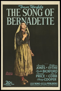 "The Song of Bernadette (20th Century Fox, 1943). One Sheet (27"" X 41"") Style B. Drama"