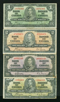 Canadian Currency: , King George VI Notes Fine.. ... (Total: 4 notes)