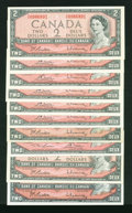 Canadian Currency: , $2 1954 Modified Portrait Notes. . ... (Total: 10 notes)