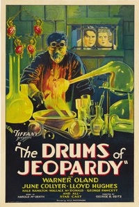 "The Drums of Jeopardy (Tiffany, 1931). One Sheet (27"" X 41""). Warner Oland stars in this story of revenge as D..."