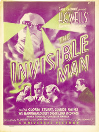 """The Invisible Man (Universal, 1933). Window Card (14"""" X 22""""). Claude Rains barely made his cinematic debut in..."""