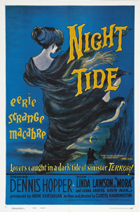"Night Tide (American International, 1961). One Sheet (27"" X 41"") Style B. Dennis Hopper plays an American sail..."