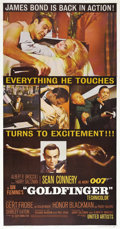 "Movie Posters:James Bond, Goldfinger (United Artists, 1964). Three Sheet (41"" X 81""). SeanConnery returns as James Bond taking on the mad genius of A..."