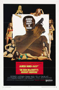 "Movie Posters:James Bond, On Her Majesty's Secret Service (United Artists, 1969). One Sheet(27"" X 41"") Style A. George Lazenby was provided the most ..."